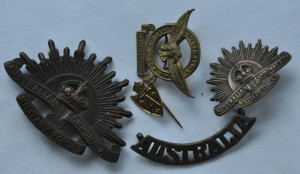 World War II badges before mounting